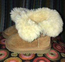 Ugg Toddler Girls Bailey Button Boots Chestnut Brown Size 7 GUC