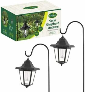 2PK Solar Shepherds Crook LED Garden Lights Lantern Hanging Victorian Coach Lamp