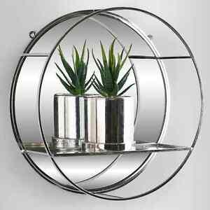 Luxury Round Silver Mirror Shelf Metal Wire Wall Shelf Home Decor Storage