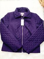 Chicos 0 Quilted Barn Jacket Lightweight Puffer Full Zip Small S Purple NWT