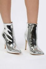 Boots Metallic Mirror Pointed Toe Stiletto High Heel Ankle Womens Boots UK