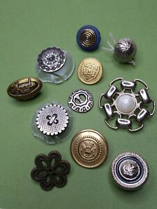 Vintage Metal and Metal Toned Plastic 1 hole Shank Style Sewing Buttons Mix Lot