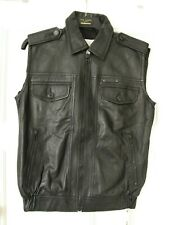 Diesel Black Lambs Leather 'Leint' Gilet Jacket Small S £420