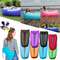 Outdoor Inflatable Camping Air Bed Lounger Sofa Sleeping Bag Mattress Beach Home