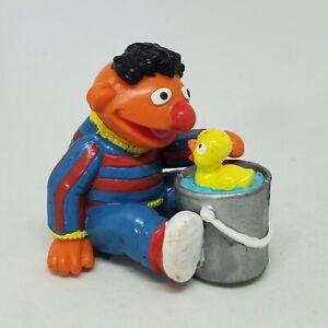 Vintage Ernie with Rubber Ducky Bucket PVC Figure Sesame Street Applause Duckie