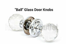 REAL SOLID GLASS MORTICE KNOBS SET Internal Latch Door Handle 1 Pair