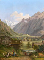 Art Oil painting happy farmer's family in landscape & cows goats dog canvas
