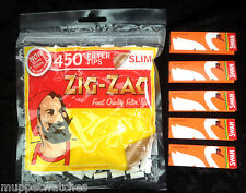 ZIG ZAG 450 SLIM Cigarette Filter Tips AND 5 Booklets of SWAN LIQUORICE Papers