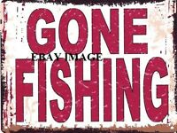 GONE FISHING METAL SIGN RETRO VINTAGE STYLE SMALL