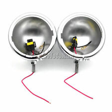 "2x 4-1/2"" Chrome Auxiliary Passing Fog Light Housing Cover For Harley Touring"