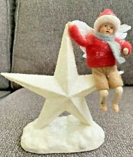 """Rare Midwest of Cannon Falls 7"""" Boy Angel on Mica Star Cotton Spun Feathers Vtg"""