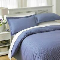LUXURY BLUE CHECK DUVET COVER WITH PILLOWCASES QUILT BEDDING SET ALL UK SIZES
