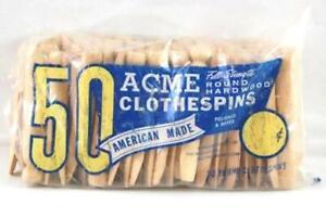 Lot 49 4-inch ACME Hardwood Clothespins Original Opened Bag