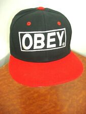 OBEY Embroidered Mens Hat Snapback Cap Black Red White One Size Fits All