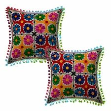Suzani Embroidered Cotton Cushion Cover Handmade Designer Pom pom Pillow Case