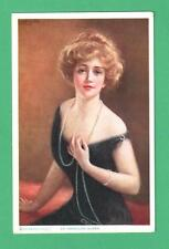"""1915 HASKELL COFFIN ART POSTCARD BEAUTIFUL LADY PEARLS """"AN AMERICAN QUEEN"""""""