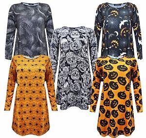Women Ladies Halloween Long Sleeve Pumpkin Web Spider Print Swing Skater Dress