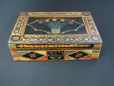 OLD VINTAGE PRISON WORK BULGARIA BULGARIAN WOOD WOODEN BOX COLOURFUL FLORAL x