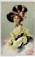 Donnina Belle epoque Cappello Moda Glamour Girl PC Viaggiata 1908