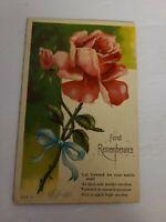 "Vintage Postcard - Greeting Card -""FOND REMEMBERANCE"" - 1900s - J69"
