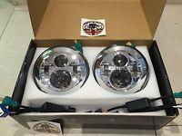 "7"" Inch LED HEADLIGHT PAIR Land Rover Defender DOT SAE E Approved CHROME 734C"