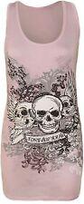 womens ladies graphic print sleeveless vest tank top summer t shirt size 8-26