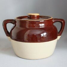 Sale! Antique Vintage Ransbottom BEAN POT Beanpot Brown Cream Ivory Stoneware