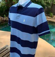 POLO RALPH LAUREN Mens Mesh Shirt - Blue Stripes Small NEW