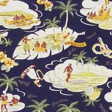 Robert Kaufman, Sevenberry ISLAND PARADISE hawaiian hula hibiscus fabric - Navy