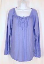Eddie Bauer Outdoor Blue Long Sleeve Knit Peasant Tunic Top sz XL Cotton Modal