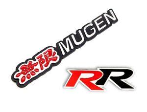 3D Aluminum Red MUGEN + RR Car Front/Rear Badge Fender Body Emblem Decal Sticker