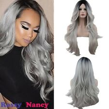 Amazing Wig Grey Body Wave Hair Wigs Synthetic Lace Front Heat Resistant 22.5""