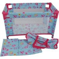 Dolls World 8201 Deluxe Travel Cot And Accessories For Toy Dolls Upto 46cm