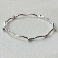 Peridot and Sterling Silver Wave Bangle
