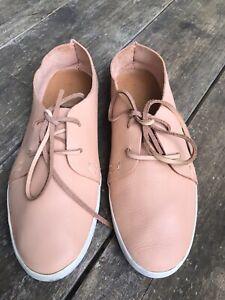 VIA MIA Portugal Handmade Complete Leather Lace Up Flat Shoe 39
