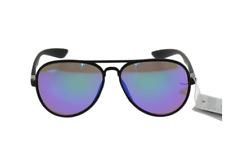 Lunettes solaire aviateur verres teintés bleu aspect miroir +Pochette à lunette.