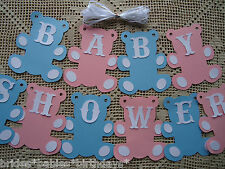 10 Bunting Flags Banners Garland Teddy Bears BABY SHOWER Vintage Blue Pink DIY