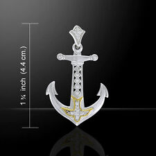 Anchor Silver and Gold Pendant by Peter Stone
