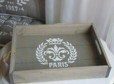 Tablett, Tray * PARIS * Holz, French Grey, Shabby Franske Landhaus, 38 x 28 cm
