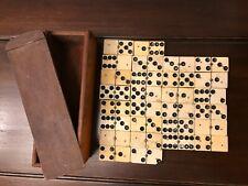 Ancien jeu de dominos XIX° (Os et ébène) complet 28 pièces
