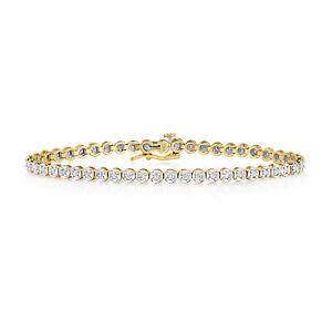 1.00ct Certified Diamond Tennis Bracelet 9ct Yellow/White Gold-Gift BD015/W- R4U