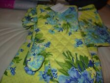APRIL CORNELL QUILTED OVENMITT YELLOW/BLUE FRENCH COUNTRY FLORAL 100% COTTON NWT