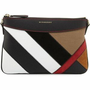 "BURBERRY ""Peyton"" Leather and Suede Patchwork Crossbody Bag"