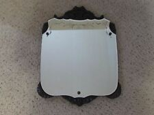 """Antique Mahogany Shield Shaped Mirror Reverse Etched Victorian Style 16"""" X 22"""""""