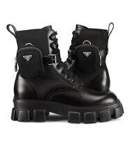 Prada Monolith lug sole pouch leather combat chunky boot Italy Designer Bag Rare