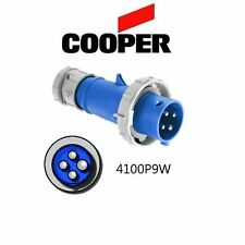 IEC 309 4100P9W Plug, 100A, 250V, 3 Pole, 3P/4W, Blue - Cooper # AH4100P9W