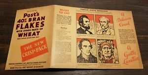 1930's Post Cereal Famous Americans FULL Box A LINCOLN SITTING BULL ROBERT E LEE