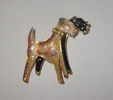 Terrier de AIREDALE perros pin Oro Tono Marrón Cristal Negro Detalles NUEVO
