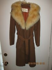Women's Vintage Clothing The Parisian Brown Coat with Fur Collar