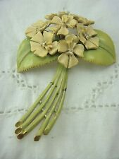 VINTAGE BSK MY FAIR LADY ENAMEL BOUQUET FLOWERS PIN BROOCH